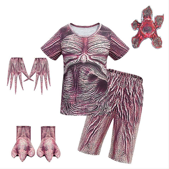 Kids Demogorgon Cosplay Costume Stranger Things 3 Cosplay T-shirt Short Pants Outfit Set