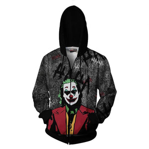 Unisex 2019 Movie Joker Hoodies Arthur Fleck Printed Zip Up Jacket Sweatshirt