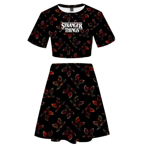 Stranger Things 2 Pieces Demogorgon Printed Outfits for Women Short Sleeves Crop Top + A Line Skirt Sets