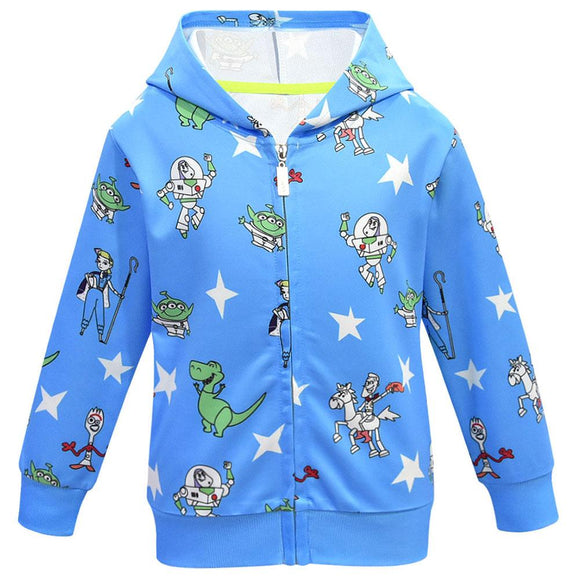 Kids Zipper Hooded Sweatshirt Toy Story 4 Cartoon Hoodies Jessie Woody Forky Cosplay Warm Sweater