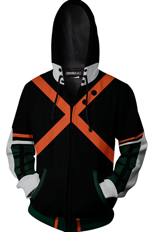 Men My Hero Academia 3D Print Zip-up Hoodie Sweatshirt-Fandomsky