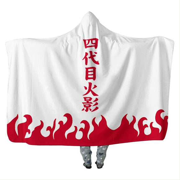 Wearable Naruto Warm Hooded Blanket Soft Fluffy Throw Poncho Kids Adult Fourth Hokage Yondaime Hokage Blanket
