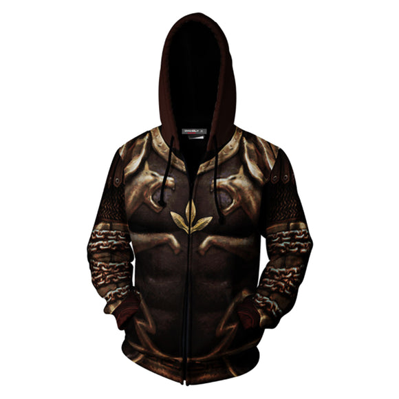 3D Print Unisex Kratos Hoodie Zipper Up Sweatshirt Cosplay Costume-Fandomsky