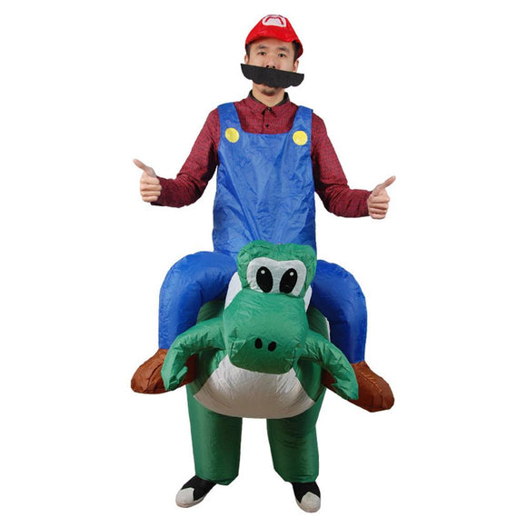 Adult Mario Riding Yoshi Inflatable Super Mario Bros Costume