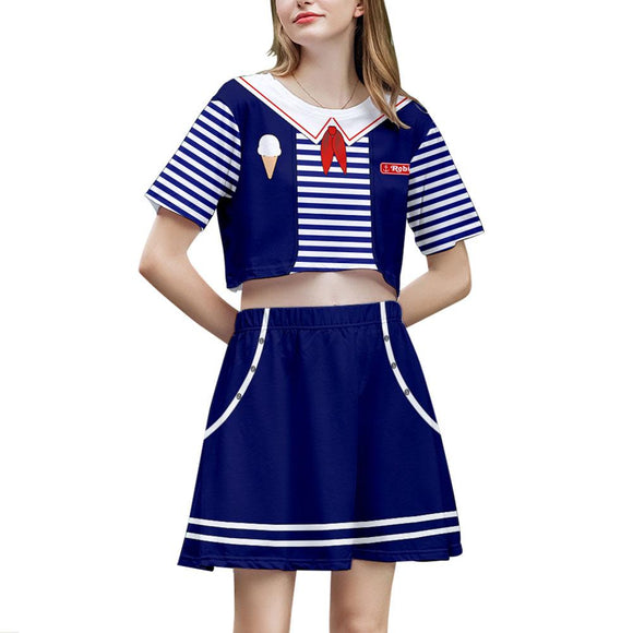Stranger Things 2 Pieces Scoops Ahoy Robin Outfits for Women Short Sleeves Crop Top + A Line Skirt Sets
