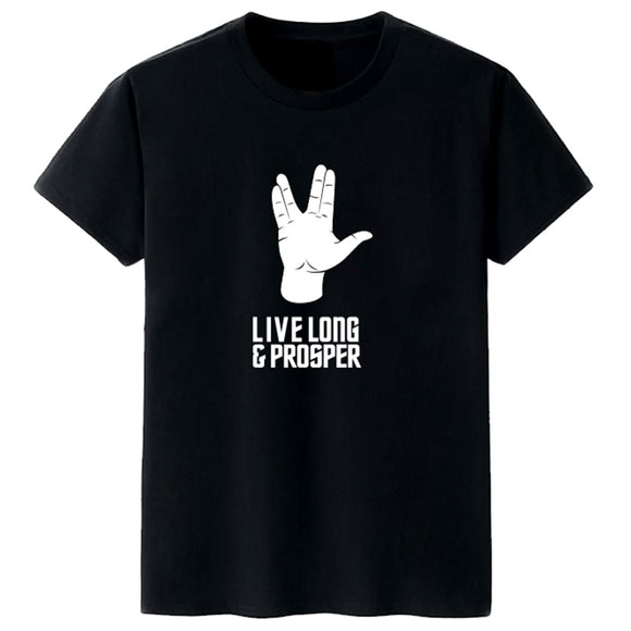 Unisex Star Trek Vulcan Salute T-shirt Live Long & Prosper Printed Summer O-neck T-shirt Casual Street Shirts