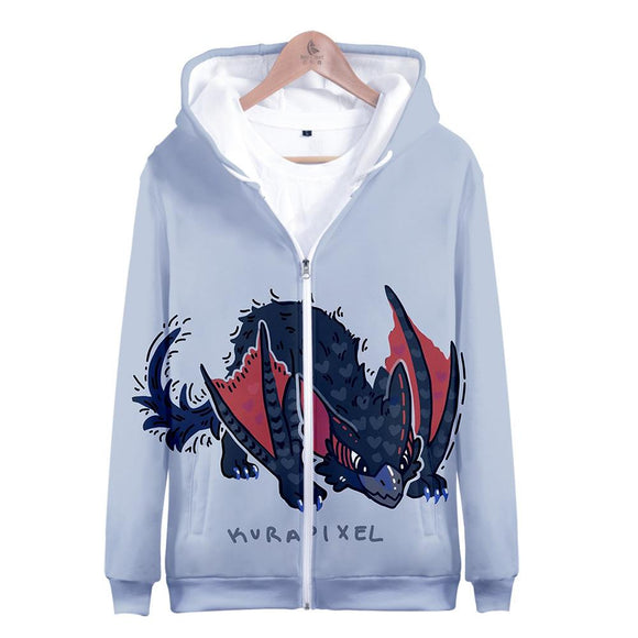 Unisex Monster Hunter: World Hoodies Long Sleeve Autumn Winter Sweatshirts Zip Up Clothes Tops