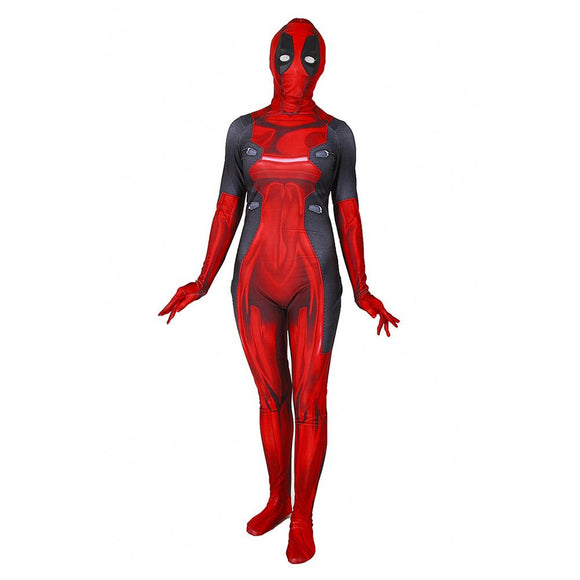 Women Girls Funny Deadpool Cosplay Costumes Jumpsuit Sexy Tight Costume For Halloween Event Ball