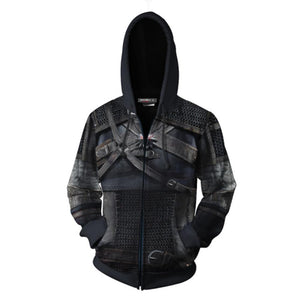 Unisex Geralt Hoodies The Witcher 3: Wild Hunt Zip Up 3D Print Jacket Sweatshirt-Fandomsky
