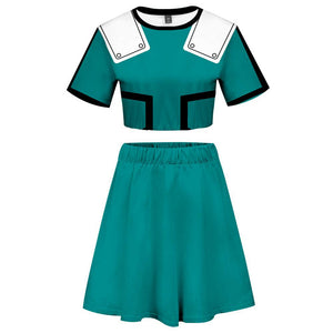My Hero Academia 2 Pieces Midoriya Izuku Outfits for Women Short Sleeves Crop Top + A Line Skirt Sets-Fandomsky