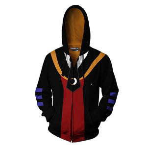 Unisex Korosensei Hoodies Assassination Classroom Zip Up 3D Print Jacket Sweatshirt-Fandomsky