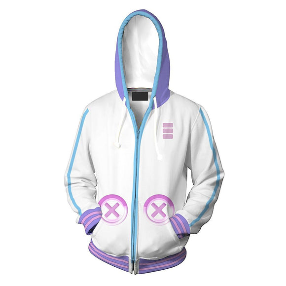 Unisex Neptune Hoodies Brave Neptunia Zip Up 3D Print Jacket Sweatshirt-Fandomsky