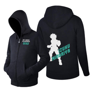 Unisex My Hero Academia Hoodie Izuku Midoriya Hooded Zip Up Sweatshirt Cosplay Costume