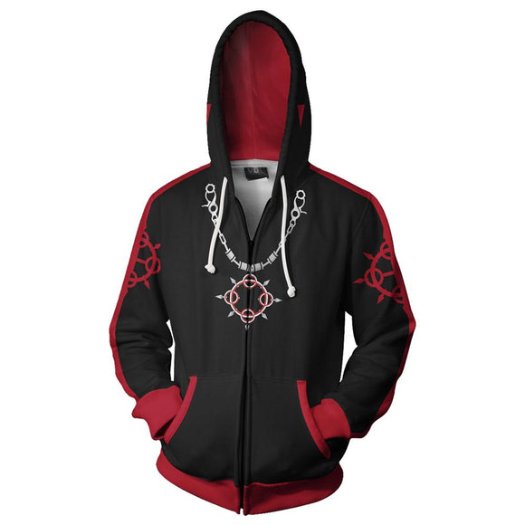 Teen Hoodie Kingdom Hearts Roxas 3D Zip Up Sweatshirt Unisex Black Red