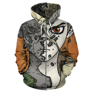 Unisex Dr.Stone Hoodies Ishigami Senku Printed Zip Up Jacket Sweatshirt