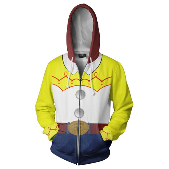 Unisex Toy Story Hoodie Woody Cosplay Hooded Zip Up Sweatshirt Cosplay Costume