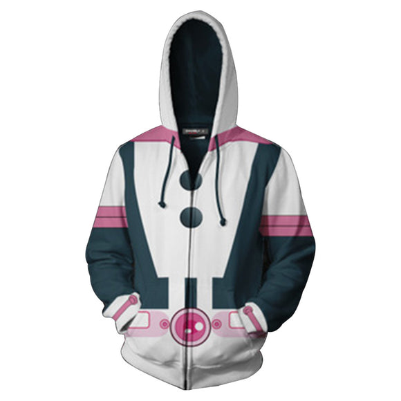 Unisex Ochaco Uraraka Hoodies My Hero Academia Zip Up 3D Print Jacket Sweatshirt New-Fandomsky