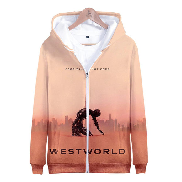 Unisex Westworld Hoodies Long Sleeve Autumn Winter Sweatshirts Zip Up Clothes Tops