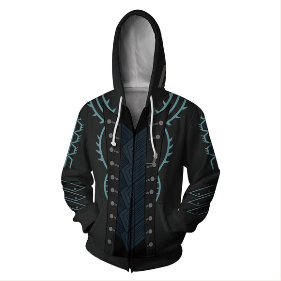 Devil May Cry Dante Vergil 3D Printed Zip up Hoodie Casual Hooded Sweatshirt Jacket Costume Coat Unisex