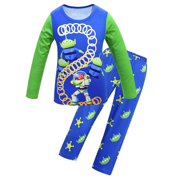 Kids Pajamas Sets Toy Story 4 Cartoon T-Shirt Tops with Pants Autumn Sleeping Clothes Pjs Set