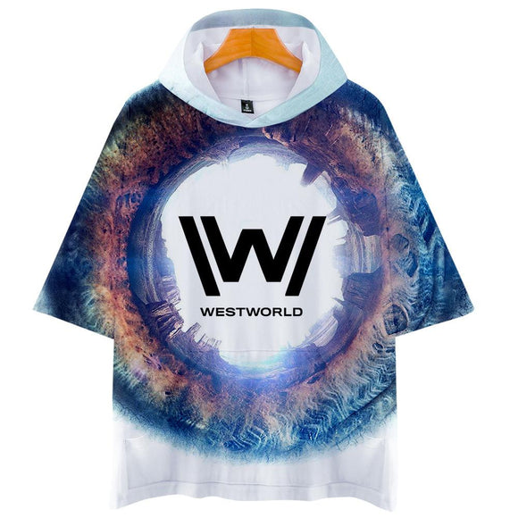 Unisex Westworld T-Shirt 3D Printed Hooded Short Sleeve Pullover Tee Tops