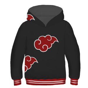 Kids Naruto Hoodies Akatsuki Organization Clouds Pullover 3D Print Jacket Sweatshirt-Fandomsky