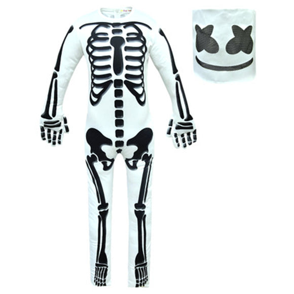 Kids Halloween Marshmello DJ Party Jumpsuit Skeleton Cosplay Costume Full Set-Fandomsky