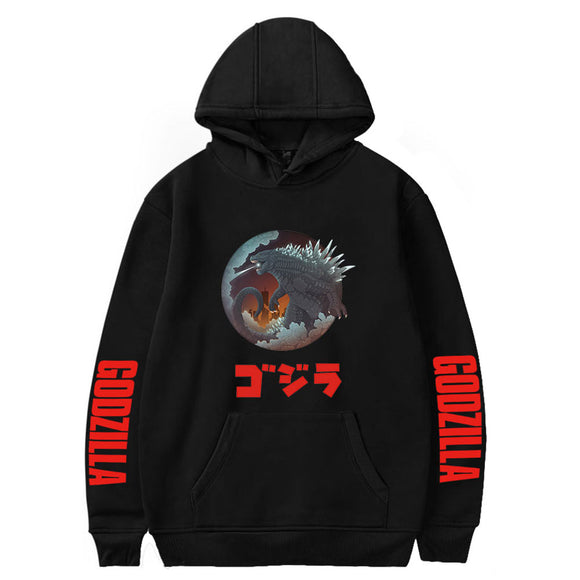 Godzilla Men's Long Sleeve Classic Pullover Print Hoodie Hooded Sweatshirt Drawstring Black-Fandomsky