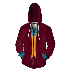 Unisex Arthur Fleck Hoodies Joker Zip Up 3D Print Jacket Sweatshirt