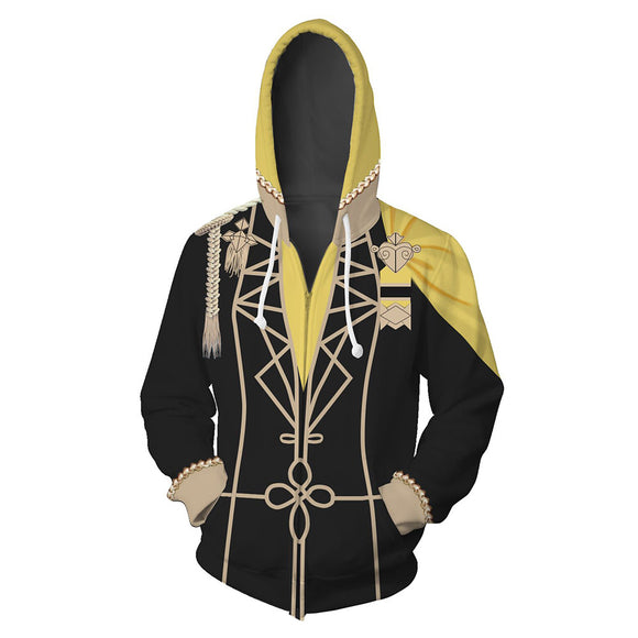 Unisex GOLDEN DEER Hoodies Fire Emblem: Three Houses Zip Up 3D Print Jacket Sweatshirt