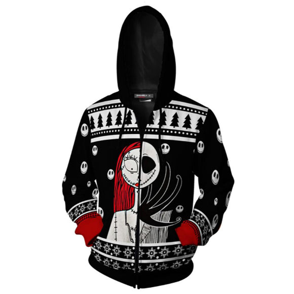 Unisex The Nightmare Before Christmas Hoodie Cosplay Jack Skull Hoodie Casual Hooded Zip Up Sweatshirt