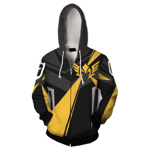 Unisex 3D Print Rainbow Six Siege Valkyrie Long Sleeve Hoodie Zip Up Jacket