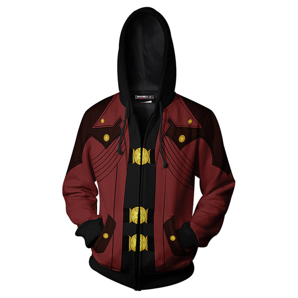 Devil May Cry Costume Dante Cosplay Hoodie Jacket Zip Up Unisex Costumes-Fandomsky