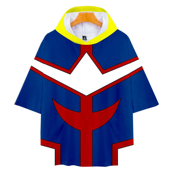 Unisex My Hero Academia T-Shirt All Might Hooded Short Sleeve Pullover Tee Tops