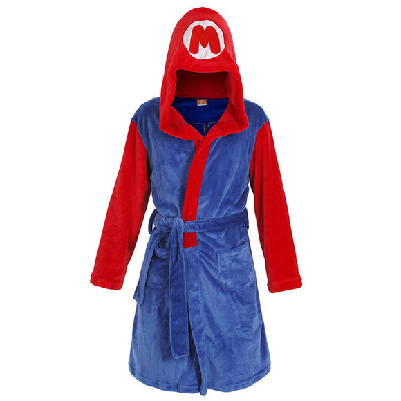 Adult Fannel Robe Unisex Super Mario Bathrobe Sleepwear Anime Game Cosplay Nightwear Pajamas-Fandomsky