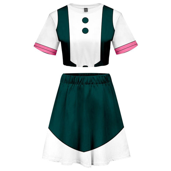 My Hero Academia 2 Pieces Ochaco Uraraka Outfits for Women Short Sleeves Crop Top + A Line Skirt Sets-Fandomsky