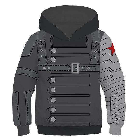 Kids Winter Soldier Hoodies Captain America Pullover 3D Print Jacket Sweatshirt-Fandomsky