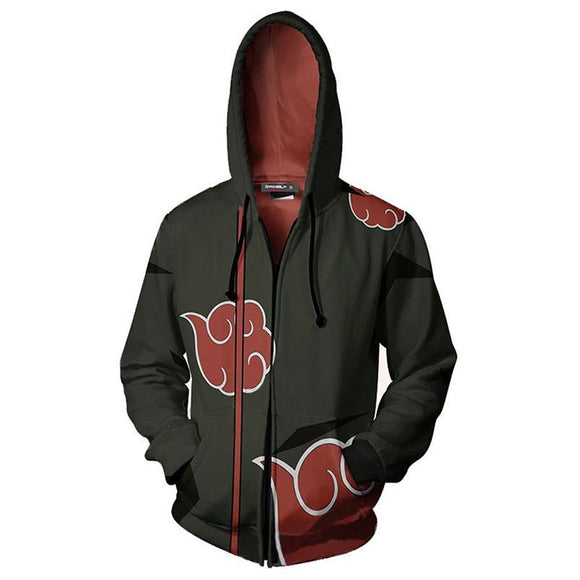 Unisex Zipper Hoodies Cosplay Naruto Hoodies Cool Outerwear Coat Hooded Sweatshirts