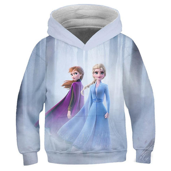 Kids Elsa Anna Cartoon Hooded Coat Frozen 2 Pullover Long Sleeve Child Cute Christmas Hoodies Sweatshirt