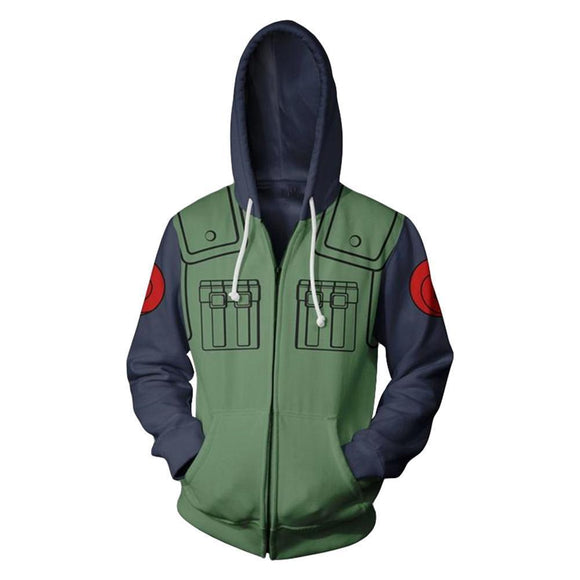 Men's Naruto Kakashi Long Sleeve Bomber Jacket Cosplay Costume Hoodie Sweatshirt-Fandomsky