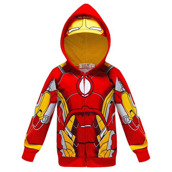 Infant Baby Boys Avengers Thin Zip Coat Ironman Hoodie Sweatshirt-Fandomsky
