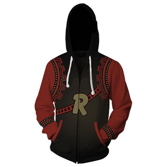 Unisex Kirishima Eijiro Hoodies My Hero Academia Zip Up 3D Print Jacket Sweatshirt-Fandomsky