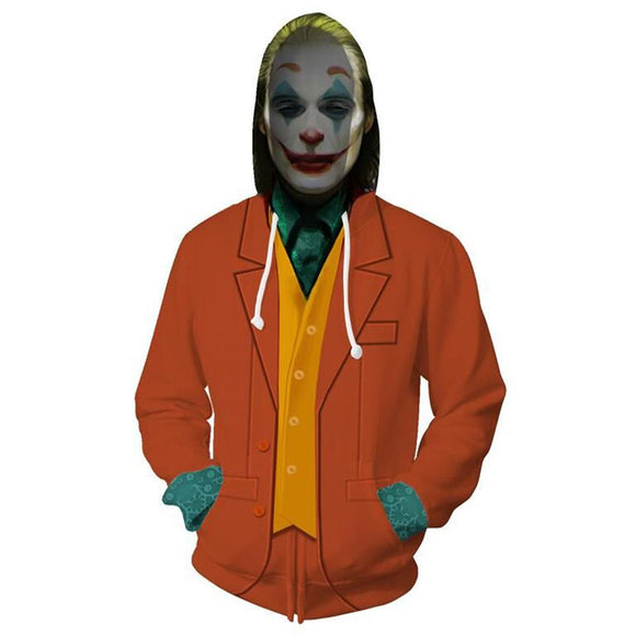 Unisex Arthur Fleck Hoodies 2019 Movie Joker Zip Up 3D Print Jacket Sweatshirt