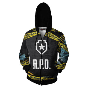 Unisex Novelty Hoodies Resident Evil Zip Up 3D Print Jacket Sweatshirt
