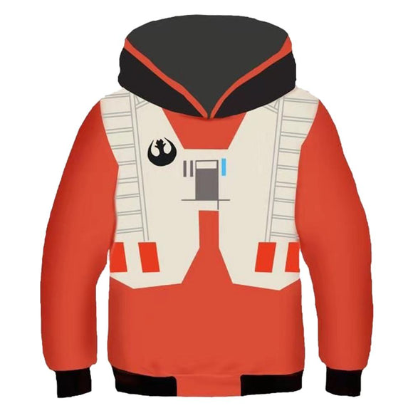 Kids Star Wars Hoodie X Wing Pilot Suit Cosplay Hooded Pullover Sweatshirt Cosplay Costume