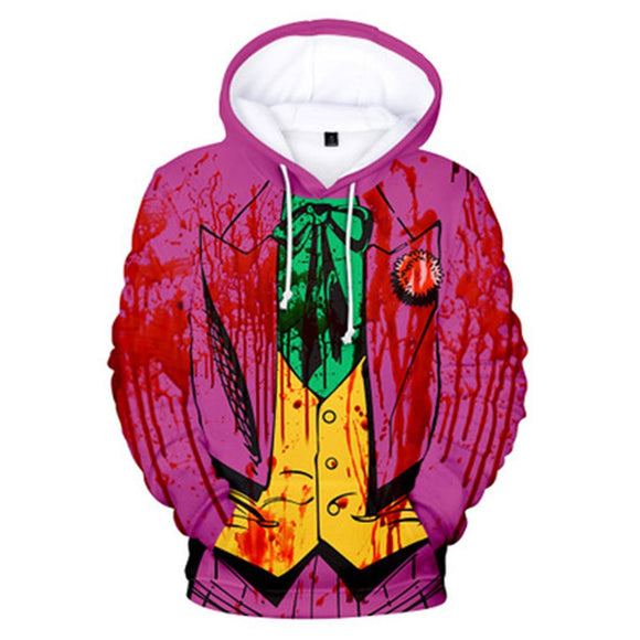 Unisex The Joker Hoodie Cosplay Joker Joaquin Autumn Winter Thin Hoodies Pullover Coat Sweatshirt