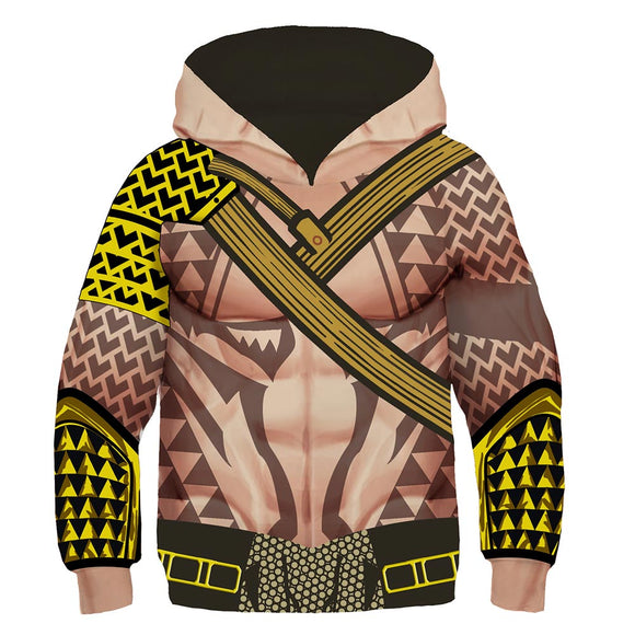 Kids Arthur Curry Hoodies Aquaman Pullover 3D Print Jacket Sweatshirt-Fandomsky