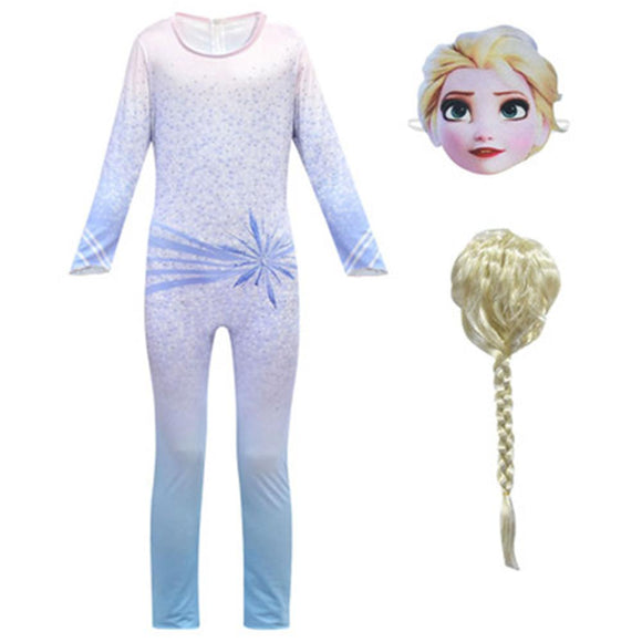 Kids Frozen 2 Elsa Jumpsuits Cosplay Sets Christmas Birthday Party Children's Performance Costume