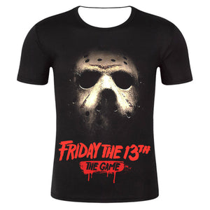 Unisex Friday The 13th Game Jason Printing Black Short Sleeves T-shirt