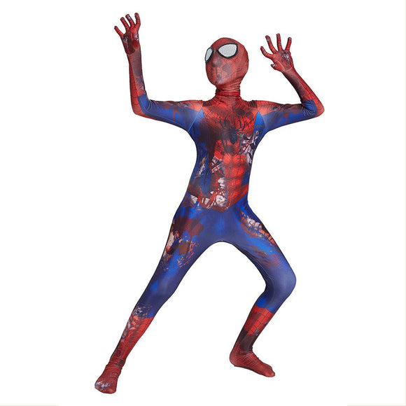 Kids Spiderman Cosplay Costume Bodysuit Suit Costume Zentai Jumpsuit Skull Spider-Man Halloween Party Costume